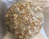 GATSBY BROOCH BOUQUET, Deposit for a Gold Silver and Ivory Jeweled Wedding Bouquet, Balance for Completed Bouquet for Windy