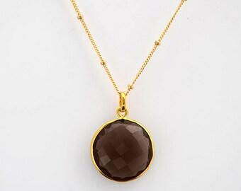 Smokey Quart necklace - gemstone necklace - satellite chain necklace - smoky quartz jewelry - smokey quartz pendant - round gemstone - bezel