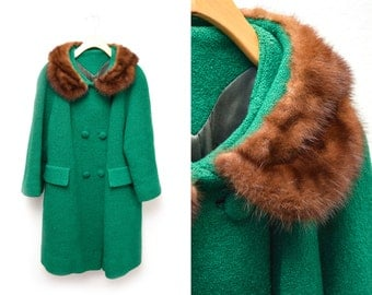 60s Emerald Green Long Coat Mink Collar Double Breasted Women's 12 XL