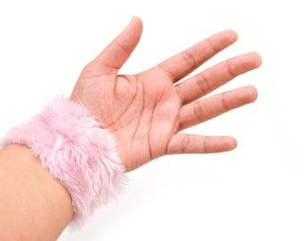 90s Pink Fuzzy Cuff Bracelet