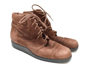 80s Brown Leather Lace Up Granny Ankle Boots Womens 9.5 M