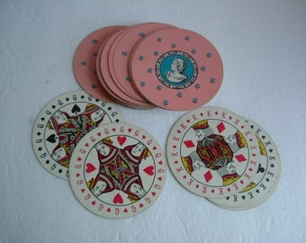 Round Deck of 51 Cameo Playing Cards for Crafts