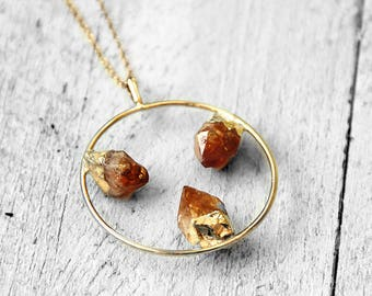 ORANGE CIRCLE Necklace with orange-yellow Citrine | silver