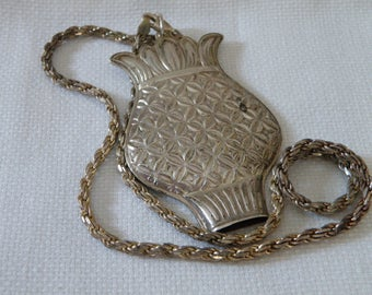 Vintage Sterling Silver Whistle Pendant Necklace - xx inch
