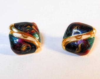 Vintage Gold square Enameled Earrings    Pierced Earrings