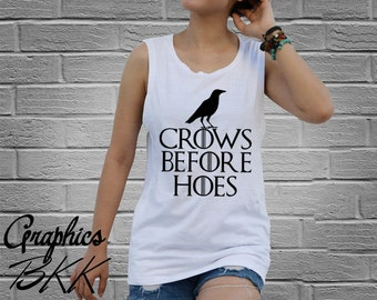 Crows Before Hoes Shirt HOUSE STARK shirt dragon Women's Tank Top Shirt top tee house stark t-shirt (XS-L) Free Shipping