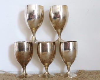 vintage silver cordials, Serving, Gothic mid century, bar, shot glasses fluted, colonial home , silverplate collection, chalice