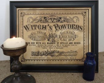 witch spells and potions, apothecary pharmacy label framed Halloween decor haunted house sign for witches or wicca kitchen