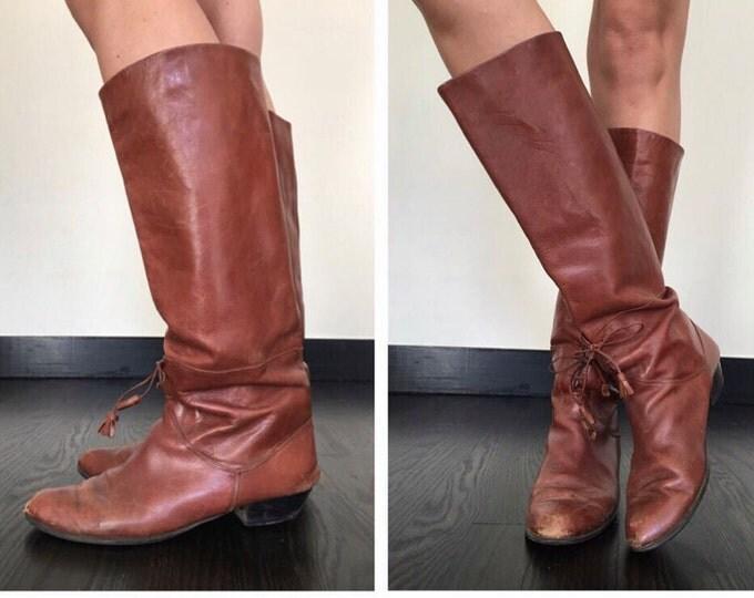 Vintage Tassel Cognac Riding Boots
