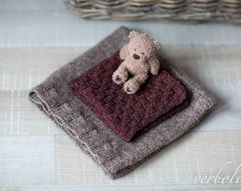 Italian Wool Mini Blanket Set of 2/Newborn Photo Prop/ Silverbrown and Coffe Baby Blankets.