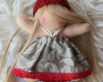 """Blonde wearing Red and Grey and Teal Dress, 5"""" Pocket Kid Waldorf Doll by Wild Ginger Dolls, Wool"""