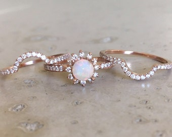 rose gold opal engagement ring set genuine opal engagement ring 14k floral engagement ring - Pearl Wedding Ring Sets