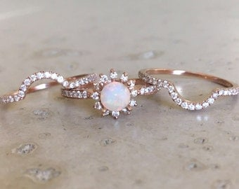 rose gold opal engagement ring set genuine opal engagement ring 14k floral engagement ring - Opal Wedding Ring