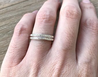 Womens Wedding Band- White Topaz Band- Half Eternity Band- Double Band Ring- Sterling Silver Ring- April Birthstone Band- Wide Band Ring