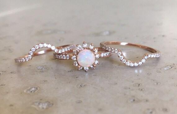 like this item - Opal Wedding Ring Sets