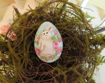 Hen size Easter egg hand painted Bunny sitting in pink roses Collectable egg, Robbin egg blue background original art work signed