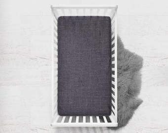 Linen Fitted Crib Sheet in Iron, Linen Crib Sheet, Dark Gray Crib Sheet