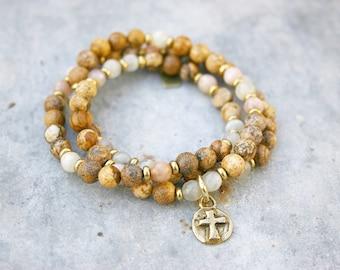 Beaded Wrap Bracelet - Yoga Bracelet - Cross Charm Bracelet - Labradorite Bracelet