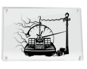 Outta Time DeLorean - Back to the Future silhouette hand cut paper craft // handmade framed wall artwork geek art