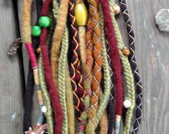 20 SE Woodland Themed Wool Dread Extensions Braids Wood Beads Wraps Charms 18""