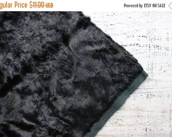 FLASH SALE Rare to find vintage plush black vintage viscose for making teddy bear charcoal green faux fur