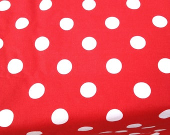 "50""""X 140"" Rectanglar Mickey Mouse Red with 1/2"" White Polka Dots Table Cloth."
