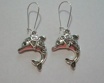 Cute Antique Silver Swirl Dolphin Earrings