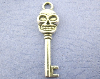5 pieces Antique Silver Skull Key Charms