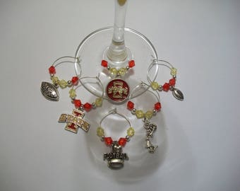 Set of 6 ISU Cyclones Football Wine Charms