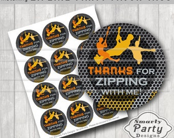 Zipline Thank You Party Tags Stickers Printable 25 Circles PDF
