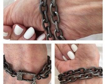 2 feet, oval link Chain, silver matte, matte grooved chain, medium sized, 11mm oval link, silver link chain