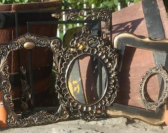 Shabby Chic Decor - Frames - Picture Frames - Ornate Upcycled Frame Set - Wall Frames