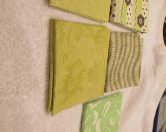 Fat Quarter Bundle with 5 FQs in shades of green, brown and white C6