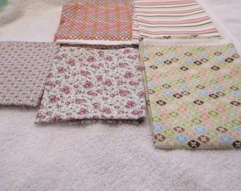 Fat Quarter Bundle of 5 FQs in pink, orange, Moda, D1