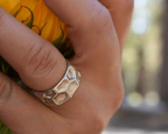 Honeycomb Ring - Sterling Silver Hand Sculpted Ring - Solid Band - Made To Order