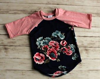 Toddler Shirt, Baby Raglan, Girl Baseball Tee, Floral Kids Shirts, Kids Raglan, Girl Play Shirt, Toddler Tee, Baby Gift, Coming Home Outfit