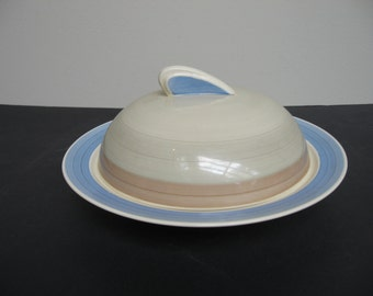Vtg Susie COOPER Art Deco Tan Blue Crown Works Burslem MUFFIN DISH