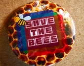 Honeycomb pinback button Save the bees badge honey magnet beekeeper patch beekeeping pins bee lapel pin nature quote gift for beekeeper