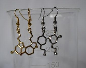 Biolojewelry -Silver Dopamine & Gold Serotonin Earring Sets