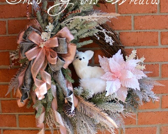 Pink Woodland Winter Arctic Fox Wreath , Snowy Rustic Fox Floral Christmas Wreath, Elegant Christmas Swag