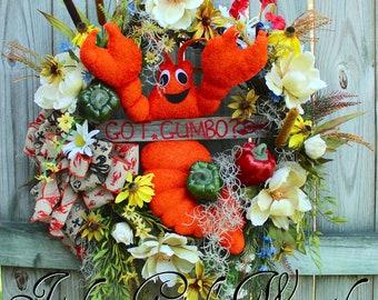 Got Gumbo Cajun Wreath, Crawfish Decor, Cajun Floral, Louisiana Decor, Everyday Kitchen Wreath, Magnolia Wreath, Summer Wreath, rustic