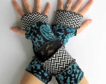 Handmade - Arm Warmers - Gypsy Style - Gift for Her - Recycled Sweaters - Fingerless Gloves - Trendy Gift Ideas for Women - Birthday Present