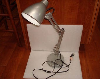 Silver And White Metal Extended Desk Lamp / Table Lamp / Dresser Lamp