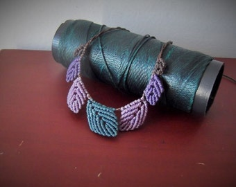Purple fairy leaves macrame necklace