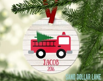 Firetruck Ornament - Personalized Ornament - Name Date  Fire Fighter Fire Truck Customized Christmas Ornament - Free Gift Box