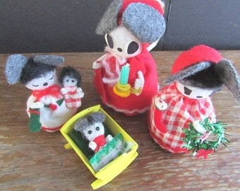 Vintage Mouse Family Handmade Christmas Pinecone Family