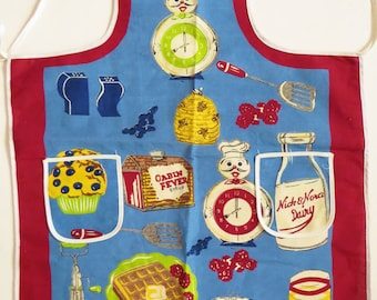 Nick & Nora Apron, Cabin Fever Syrup Full Bib Apron, Retro Kitchen Accessory, Nostalgia Food Designs