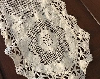 """Crocheted Runner / Vintage Cream Crocheted Table Runner 50"""" / Vintage Cotton Runner Crocheted"""