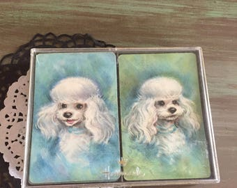 Dog playing cards / Vintage Hallmark Double Card Decks Blue & Green / Vintage Double Deck Hallmark Playing Cards Good condition