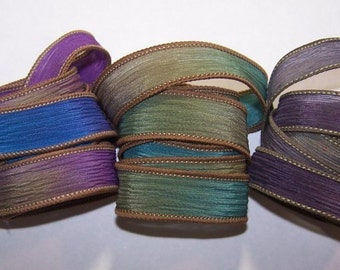 3 Pack Special Sale/Silk Ribbons/Hand Dyed/Wrist Wraps/Sassy Silks/Ready to Ship/ See Description for Details/101-0417